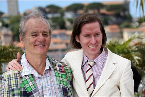 Bill Murray and Wes Anderson at the photo call for opening film Moonrise Kingdom.